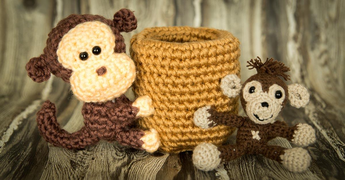 Häkel-Set Affe als Stifthalter und zum knuddeln *Kooperation*