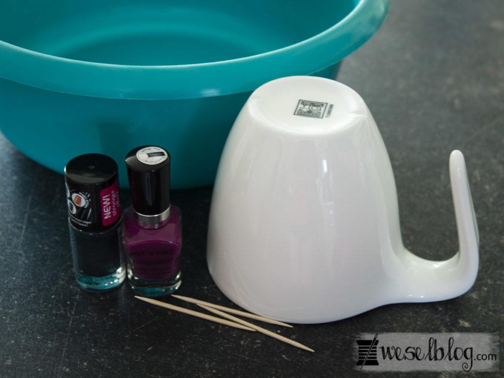 DIY Tassen mit Nagellack gestalten