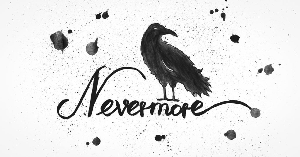 Nevermore - Der Rabe - Lettering - Free-Printable
