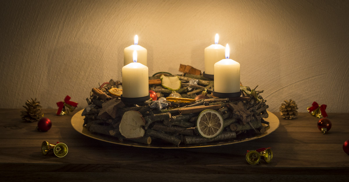 DIY Adventskranz Holz
