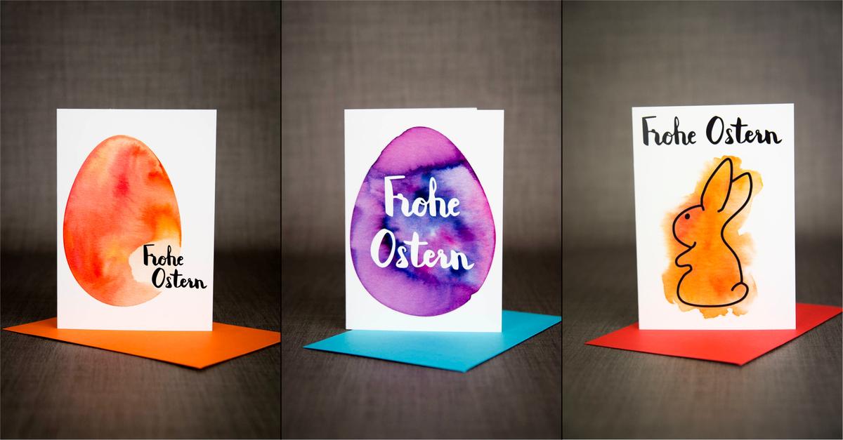 Osterkarte in Aquarell und Handlettering