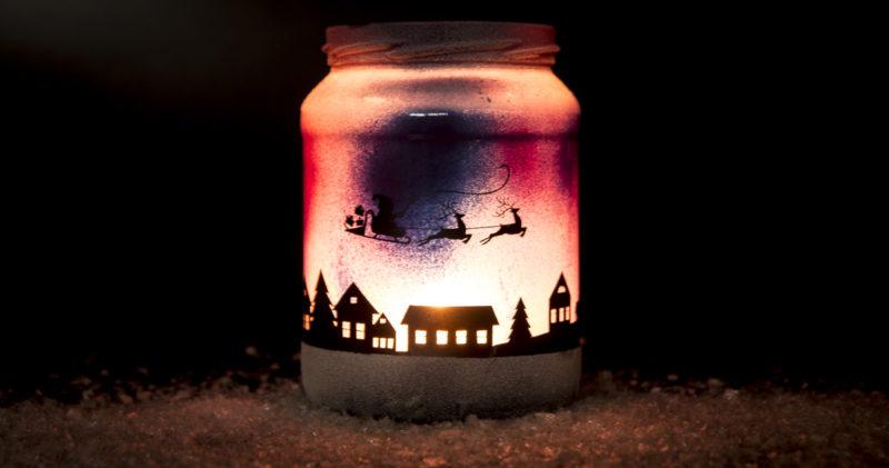 DIY weihnachtliches Windlicht *Plotter-Freebie*