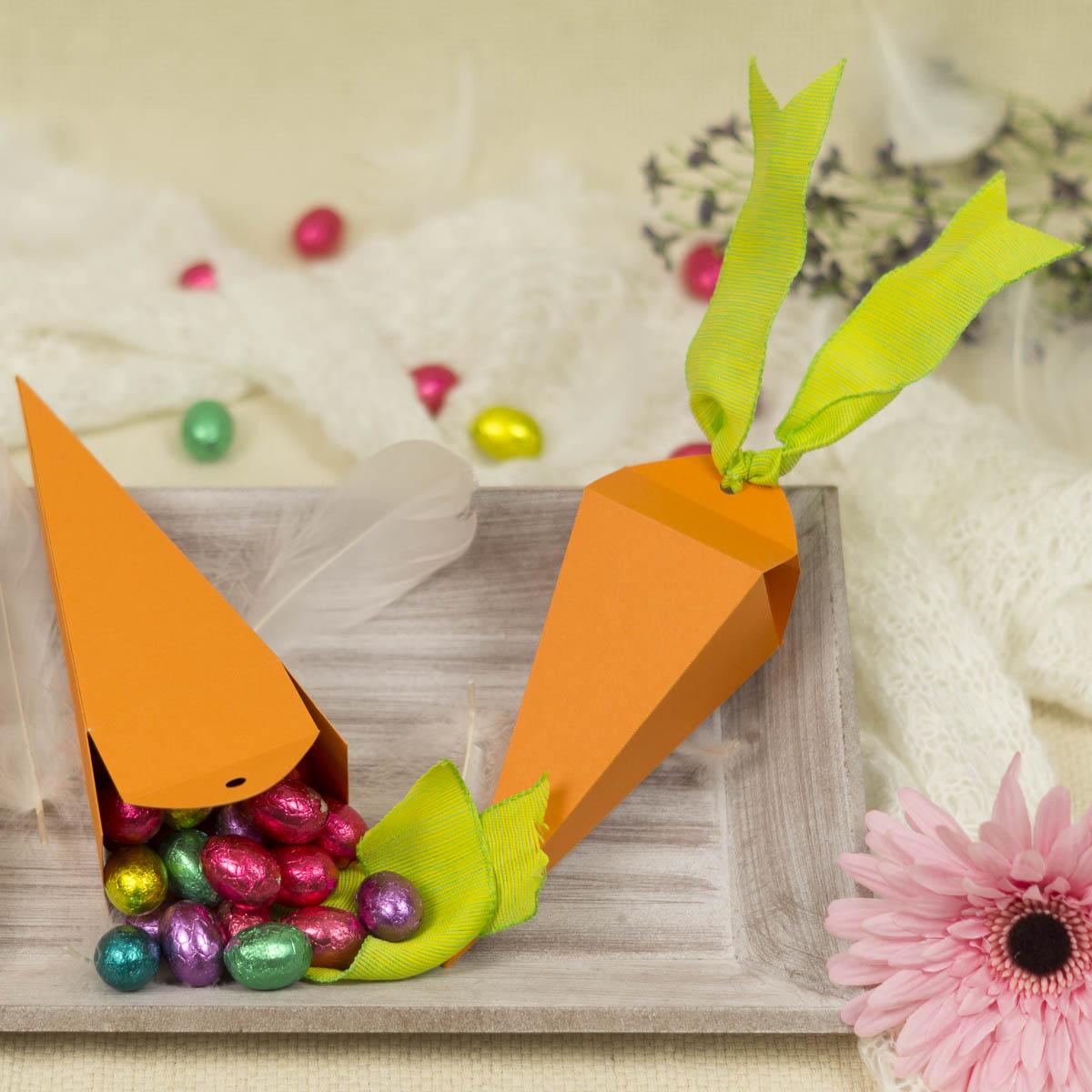 Schnelles DIY Ostergeschenk – Karotte aus Papier